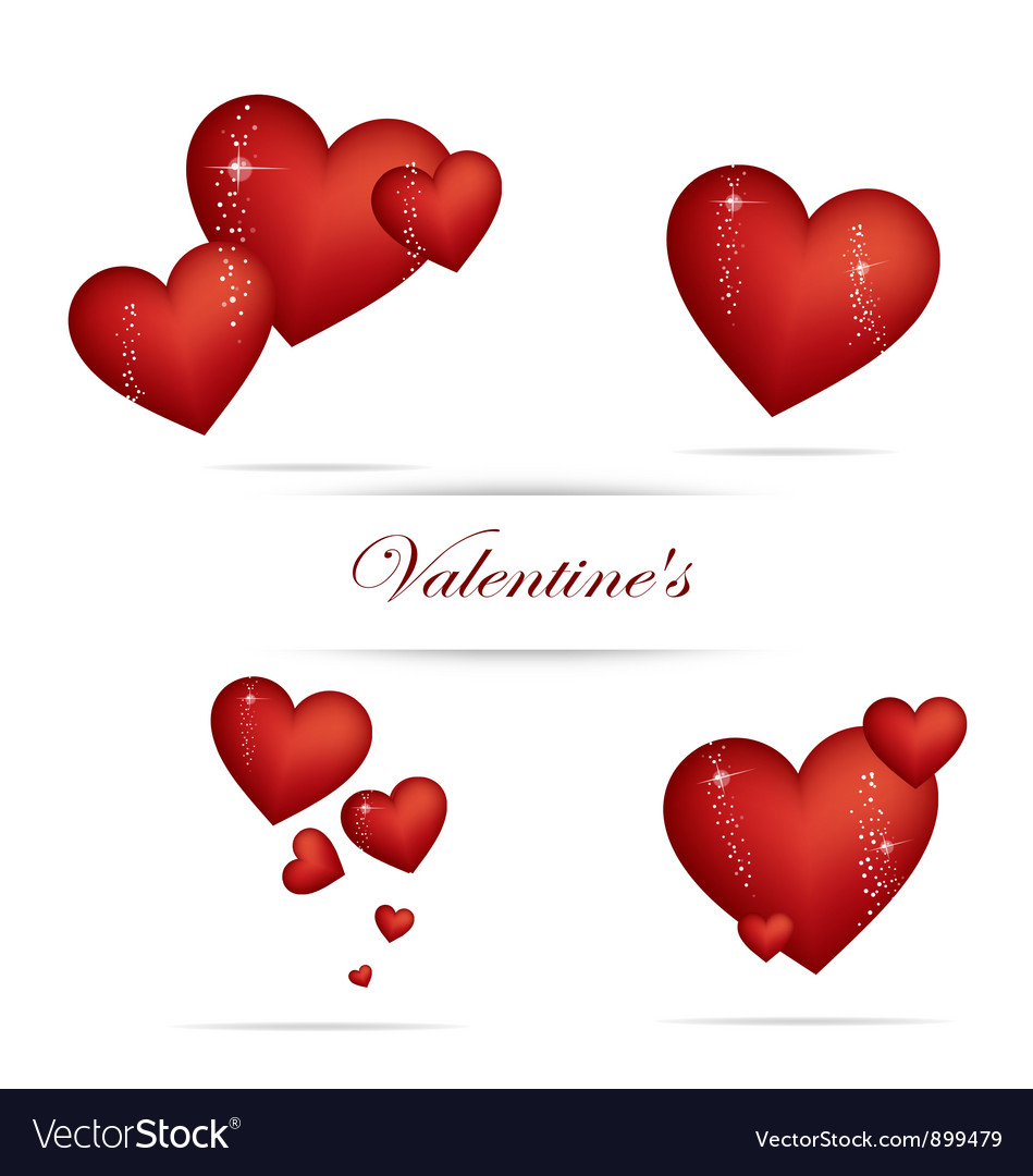 Valentine heart sign set red color vector | Price: 3 Credit (USD $3)
