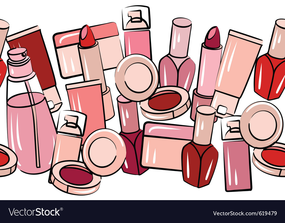 Various cosmetics in seamless border vector | Price: 1 Credit (USD $1)