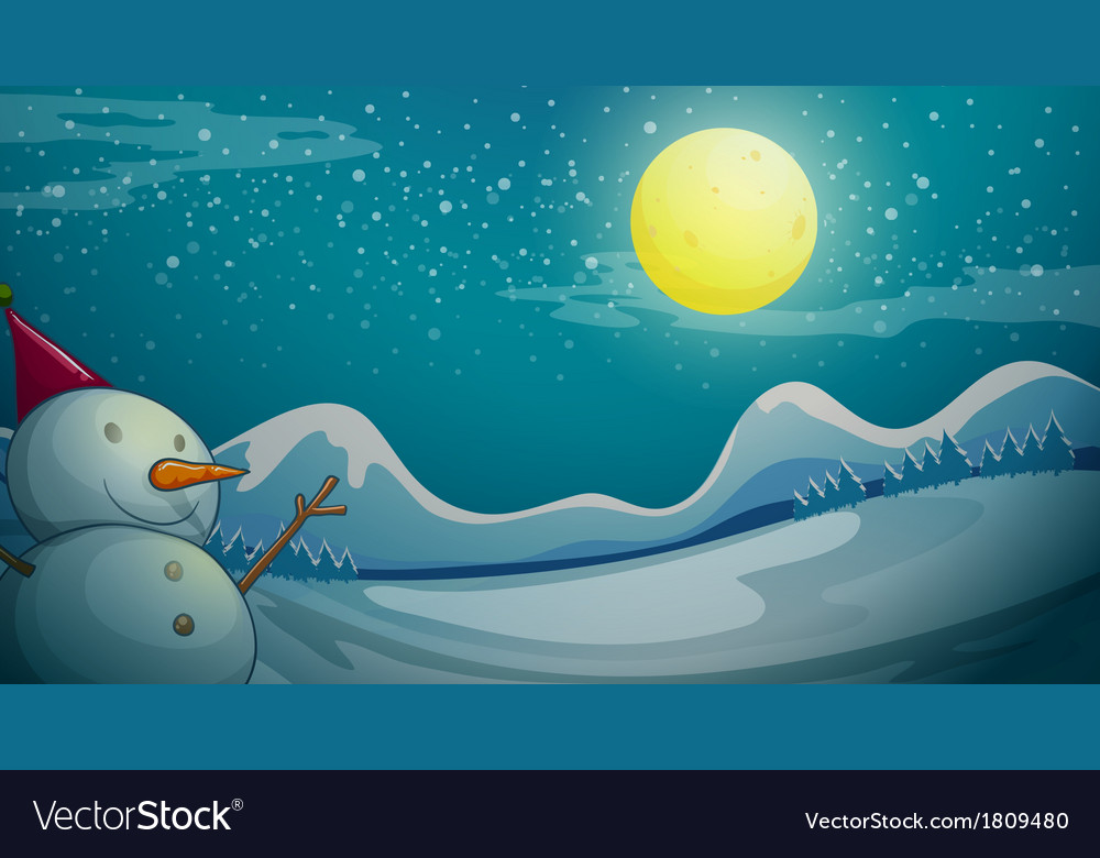A snowman under the bright moon vector | Price: 1 Credit (USD $1)