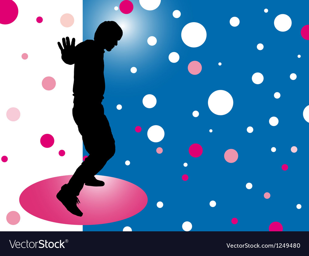 Abstract background with silhouette disco man vector | Price: 1 Credit (USD $1)