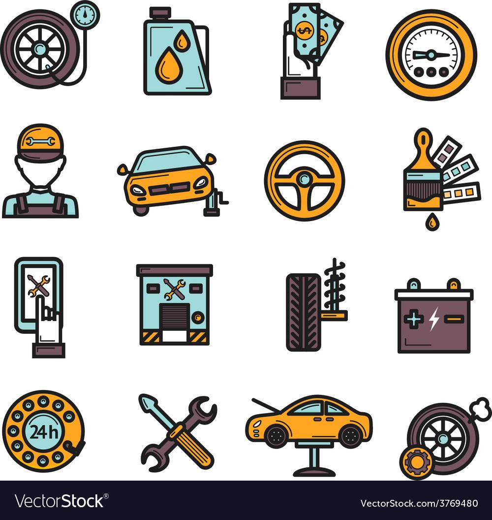 Auto service icon set vector | Price: 1 Credit (USD $1)
