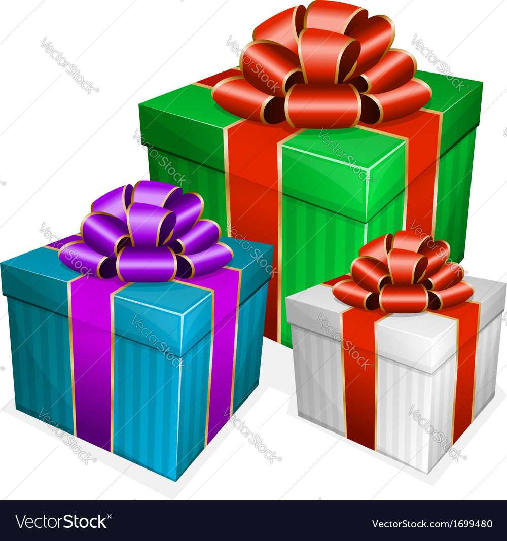Collection gift box with bow vector | Price: 1 Credit (USD $1)
