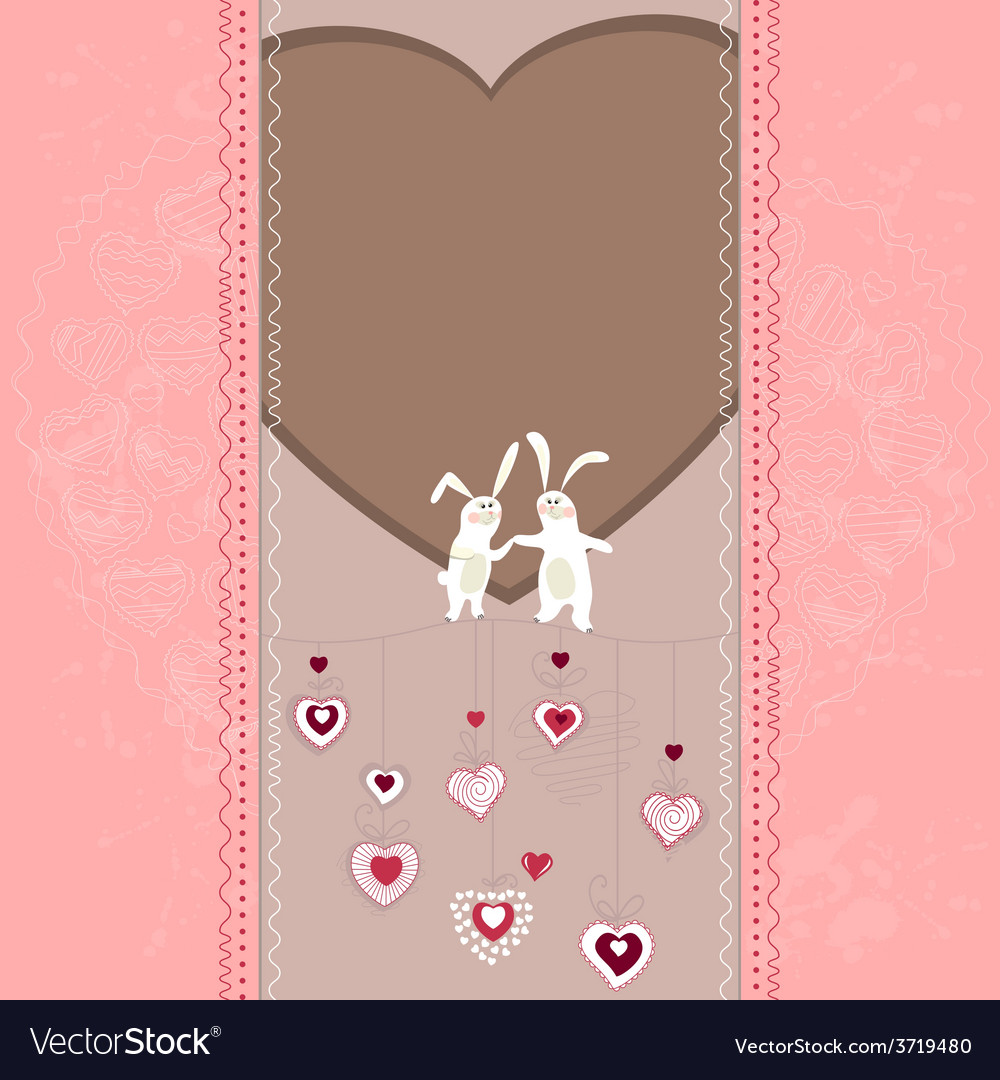 Easter card with hearts and rabbits vector | Price: 1 Credit (USD $1)