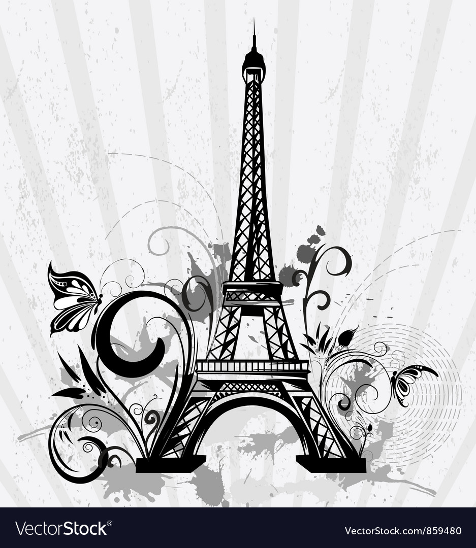 Eiffel tower with floral and grunge vector | Price: 1 Credit (USD $1)