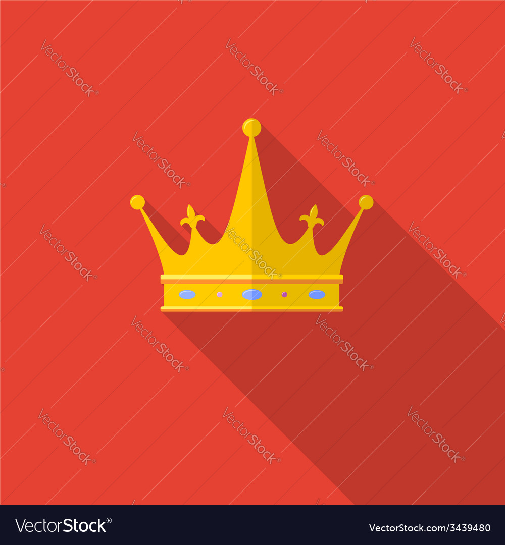 Golden crown on red background with long shadow vector | Price: 1 Credit (USD $1)