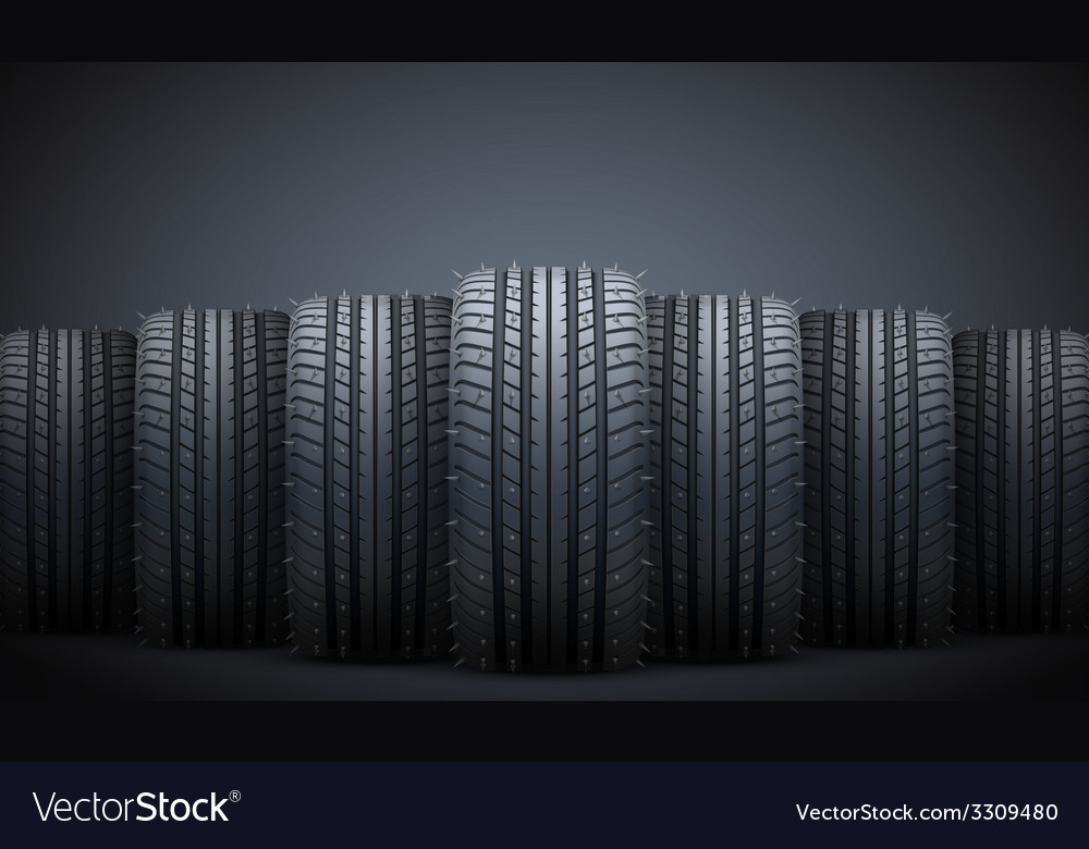 Realistic rubber tires and spikes banner vector | Price: 3 Credit (USD $3)