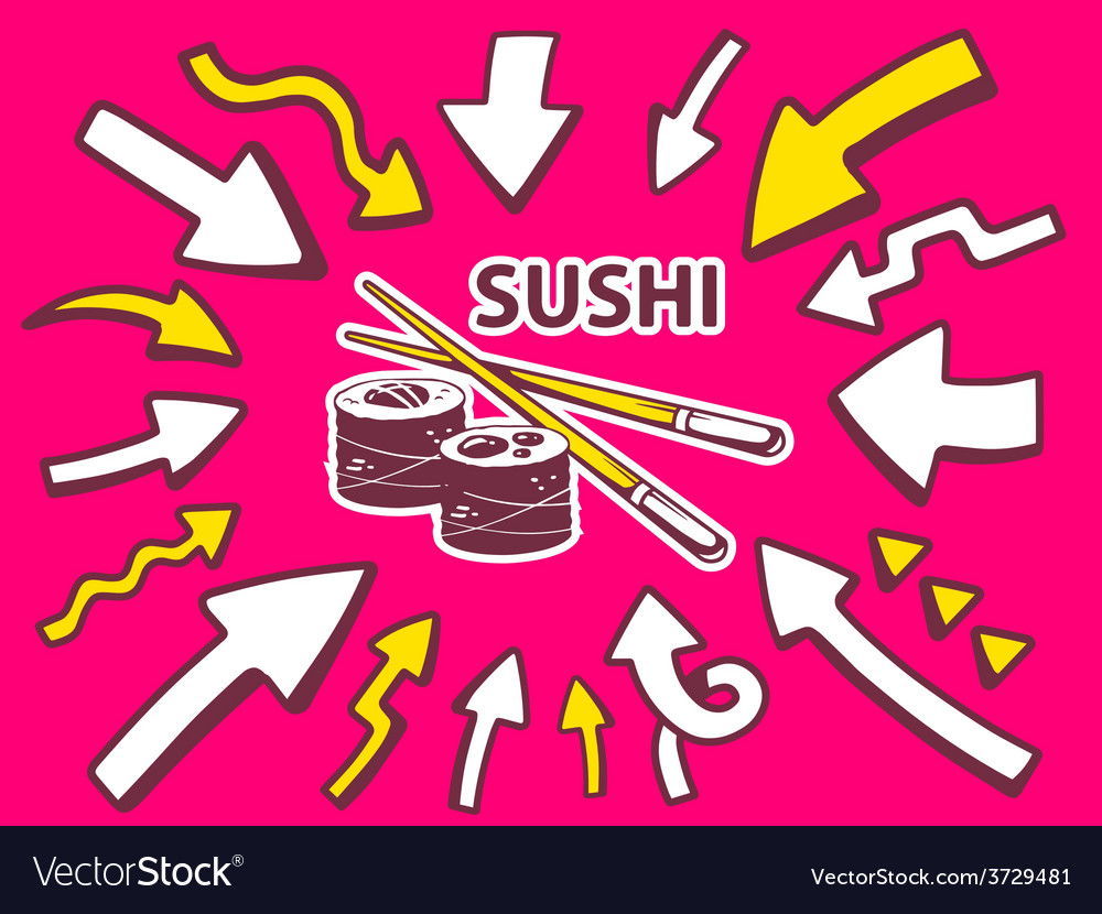 Arrows point to icon of sushi on pink bac vector | Price: 1 Credit (USD $1)