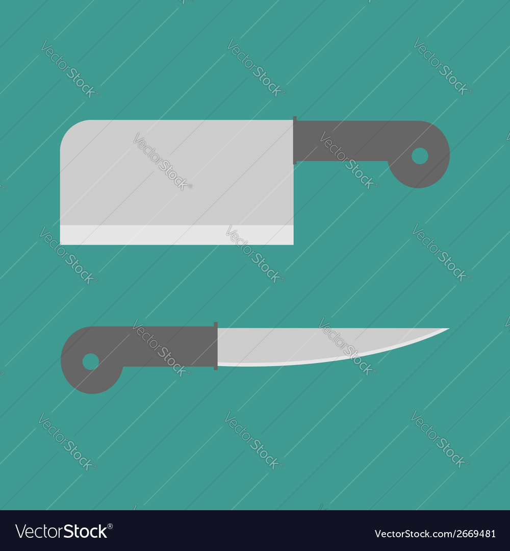 Big steel kitchen knife set flat design style vector | Price: 1 Credit (USD $1)