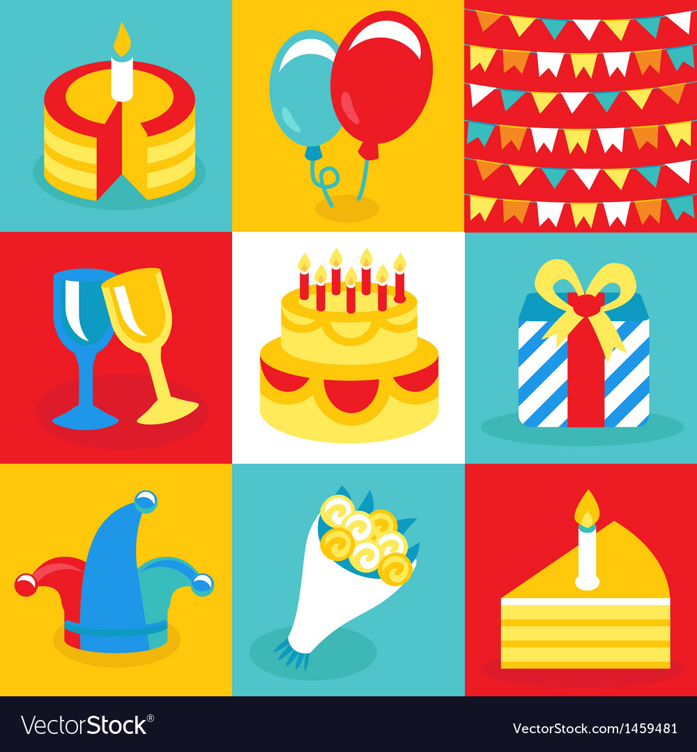 Birthday and party icons and signs vector | Price: 1 Credit (USD $1)