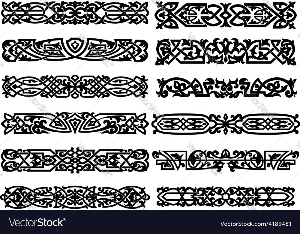 Black and white ornaments or borders vector | Price: 1 Credit (USD $1)