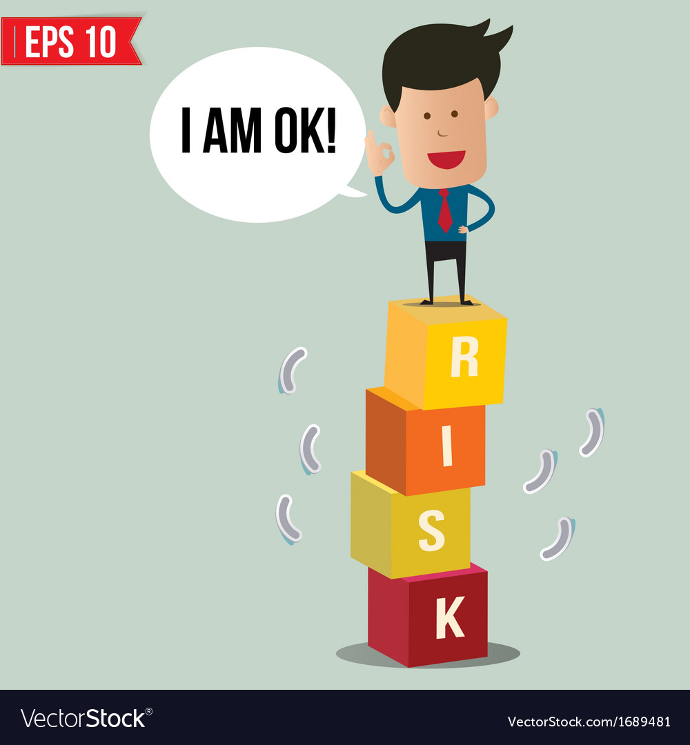 Business man stand on risk block   eps10 vector
