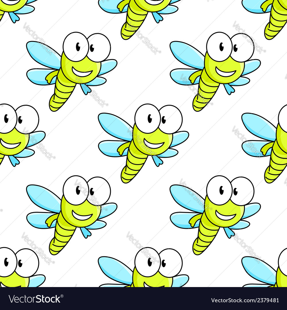 Colorful dragon fly seamless pattern vector | Price: 1 Credit (USD $1)