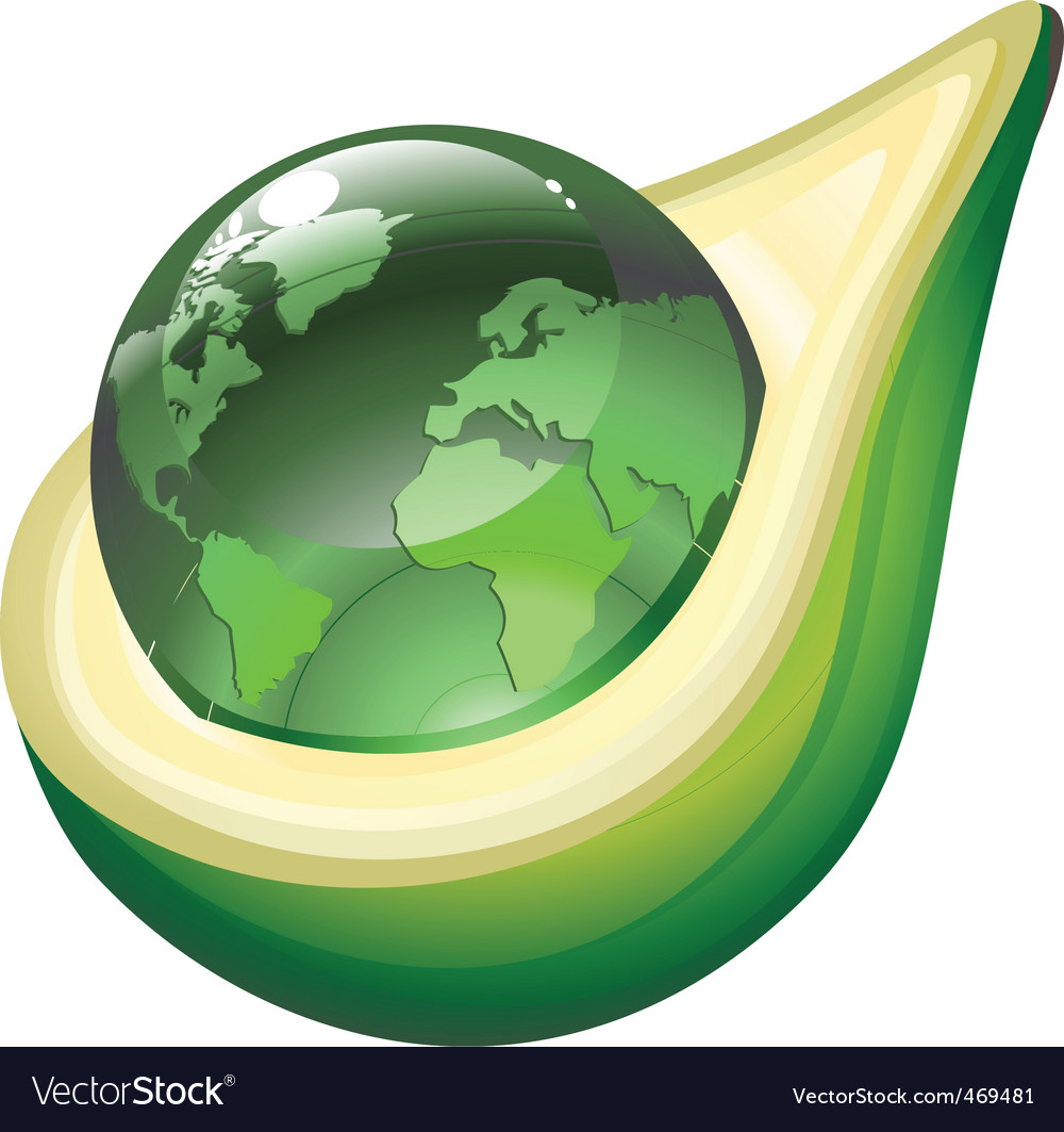 Globe in avocado vector | Price: 1 Credit (USD $1)