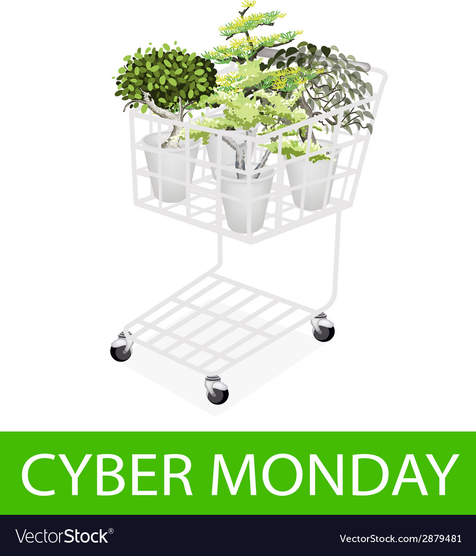 Green trees in cyber monday shopping cart vector | Price: 1 Credit (USD $1)