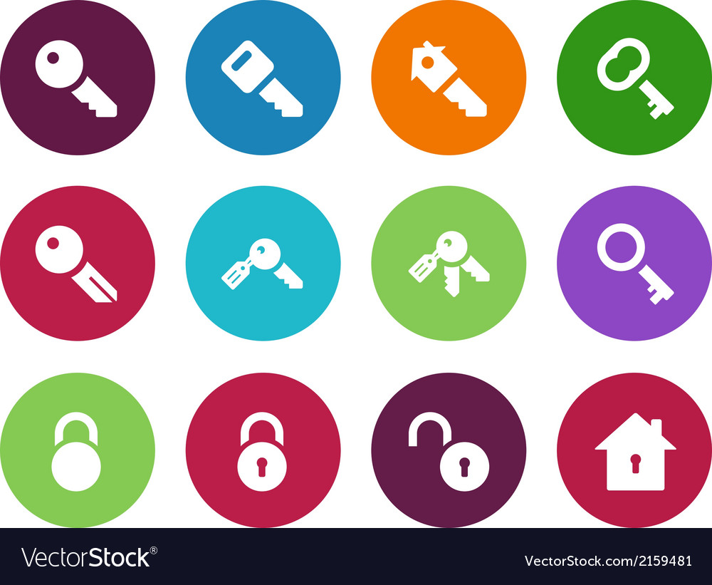 Key circle icons on white background vector | Price: 1 Credit (USD $1)