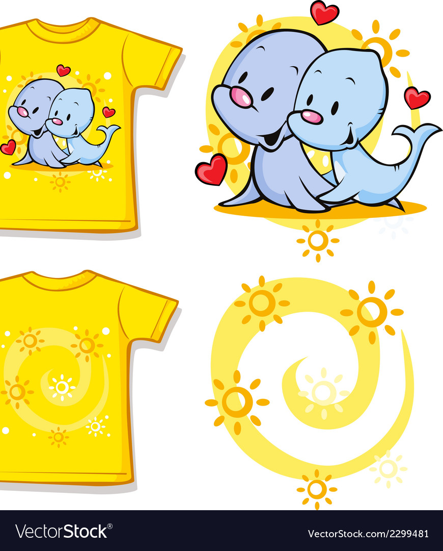 Kid shirt with cute seal printed vector | Price: 1 Credit (USD $1)