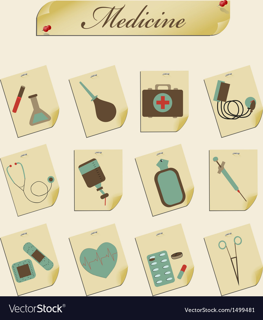 Retro icons medicine vector | Price: 3 Credit (USD $3)