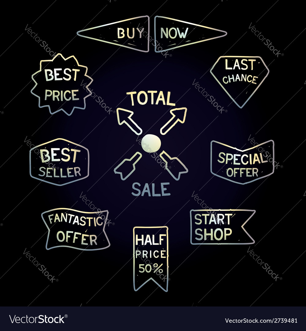 Set handmade sale tags vector | Price: 1 Credit (USD $1)