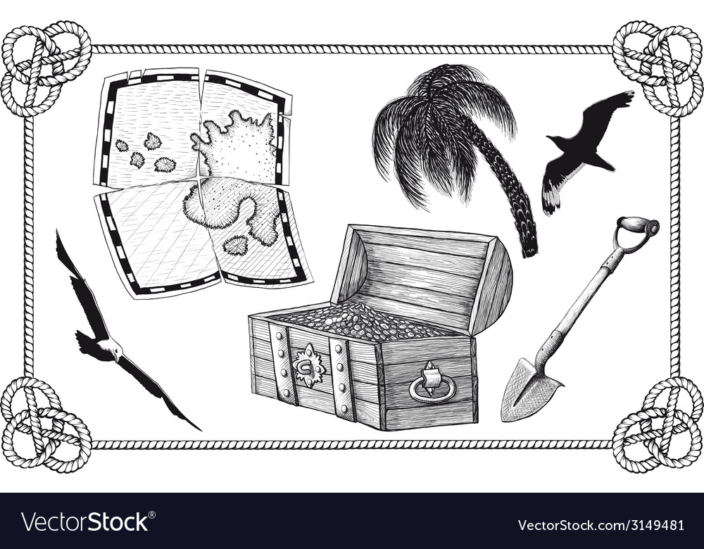 Set of pirate treasure vector | Price: 1 Credit (USD $1)