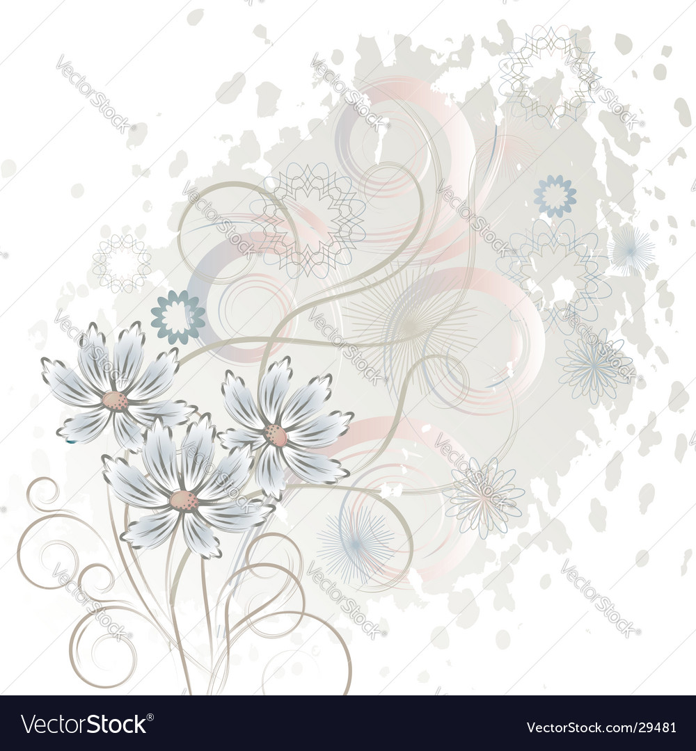 White background with flowers vector | Price: 1 Credit (USD $1)