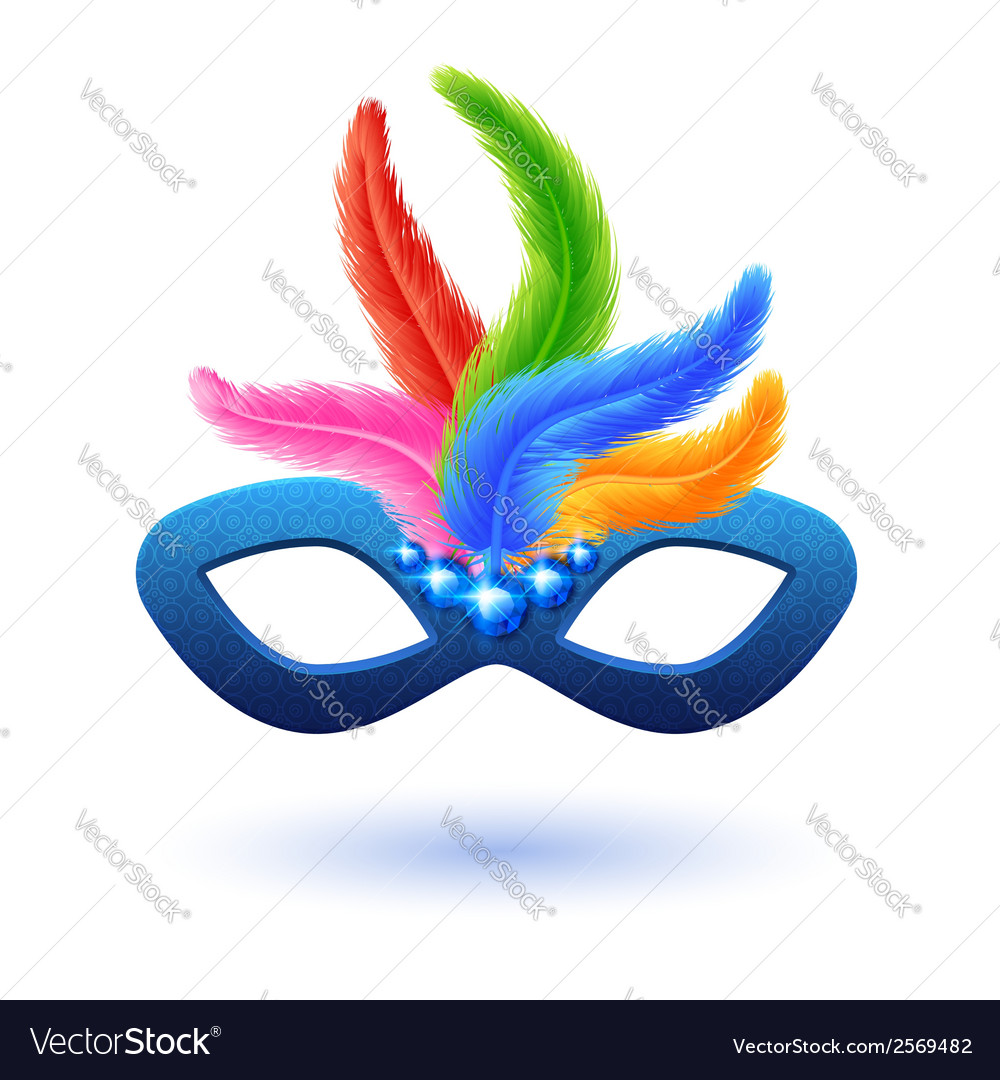 Blue carnival mask with feathers vector | Price: 1 Credit (USD $1)