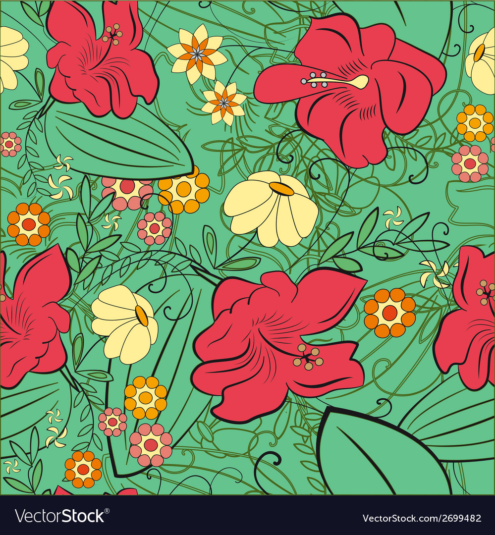 Flower lily daisy seamless vector | Price: 1 Credit (USD $1)
