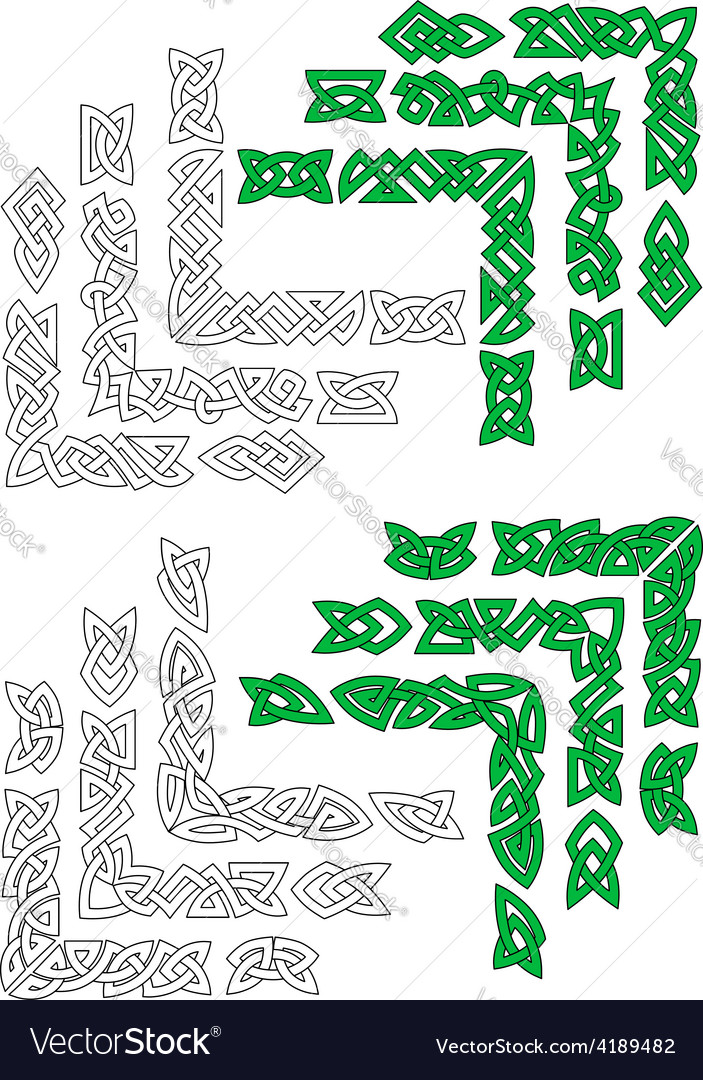 Green and outline celtic frame borders vector | Price: 1 Credit (USD $1)