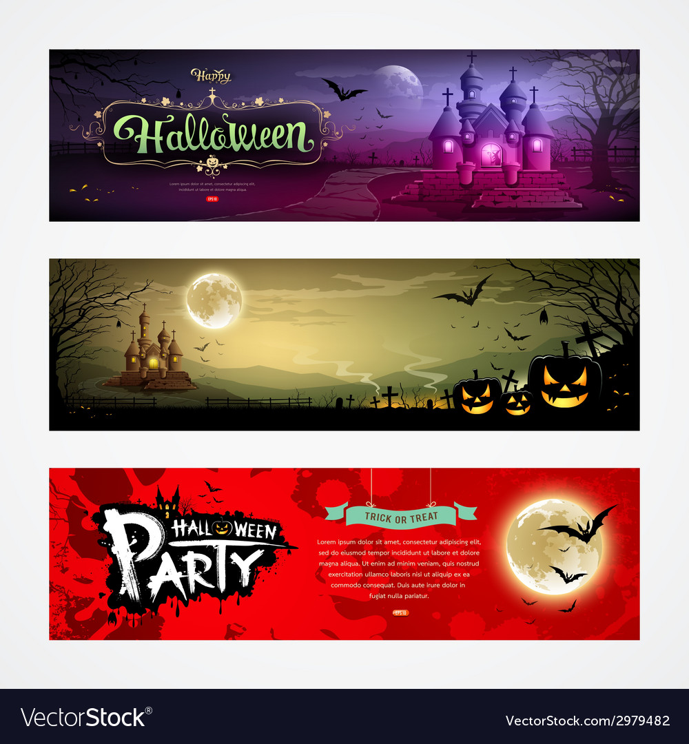 Happy halloween collections banner design vector | Price: 3 Credit (USD $3)
