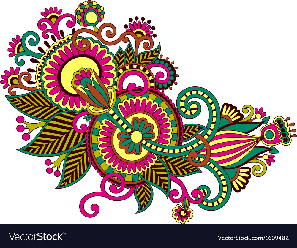 Original hand draw line art ornate flower design u vector | Price: 1 Credit (USD $1)