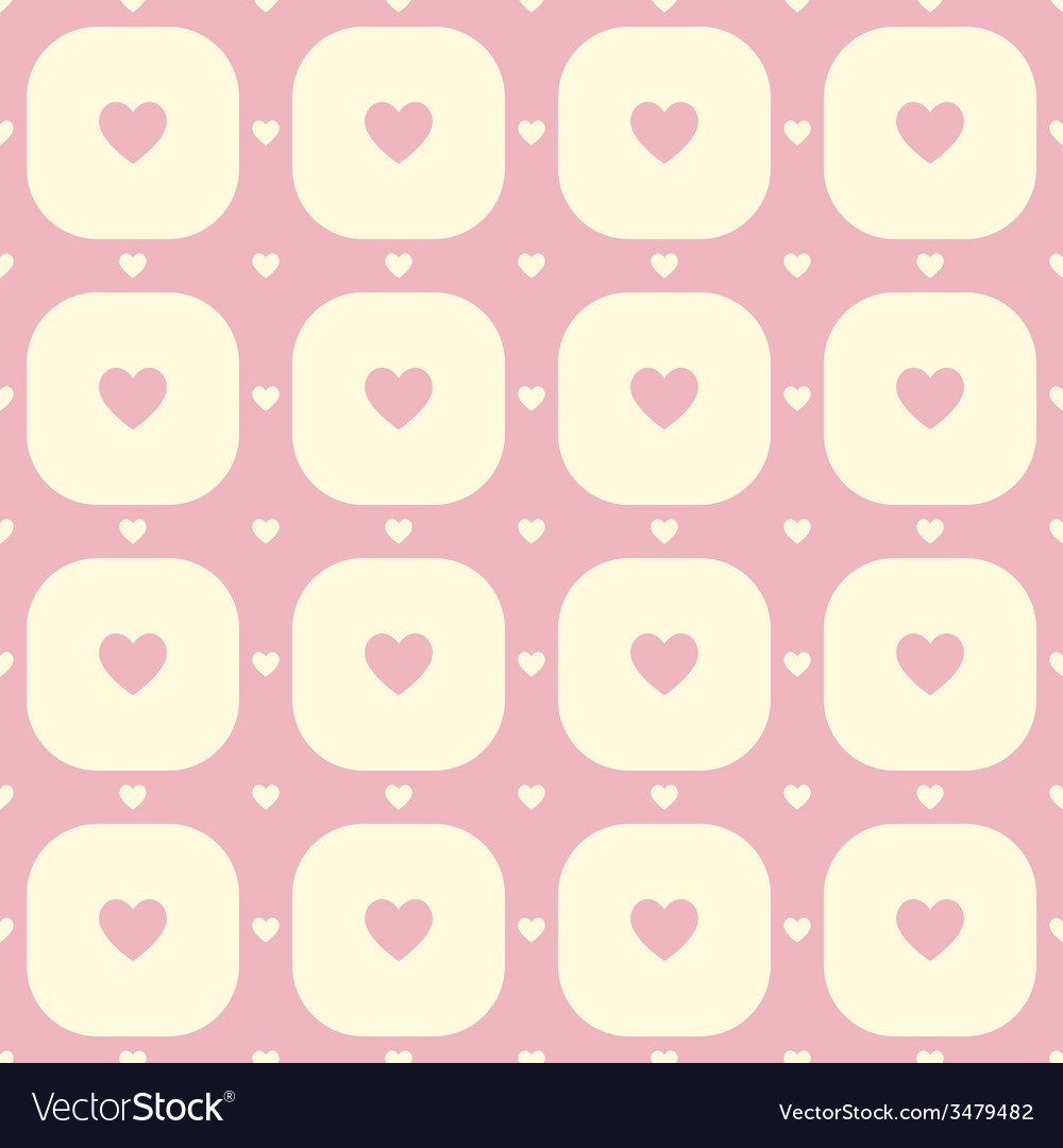 Pink hearts in yellow rounded squares pattern vector | Price: 1 Credit (USD $1)