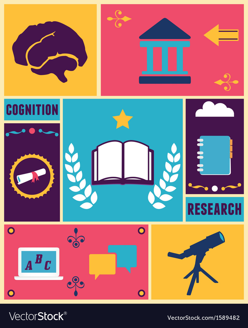 Retro poster of education vector | Price: 1 Credit (USD $1)