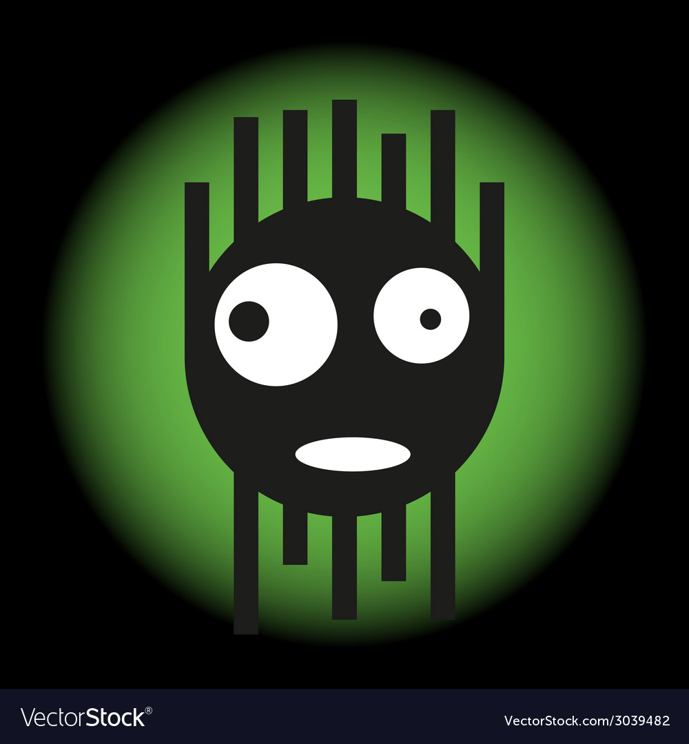 Scared cute monster in the light of a searchlight vector | Price: 1 Credit (USD $1)
