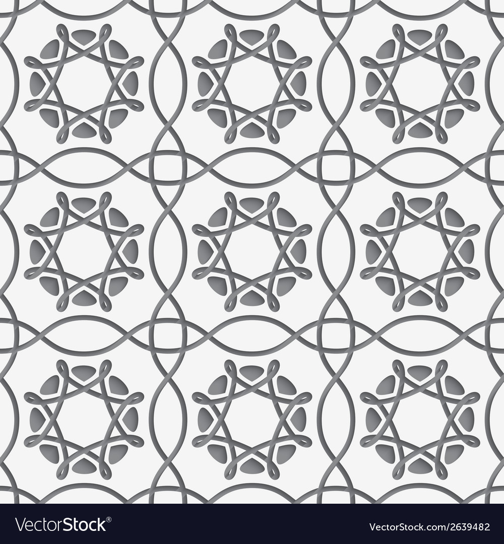 White squares and geometric flowers on gray vector | Price: 1 Credit (USD $1)