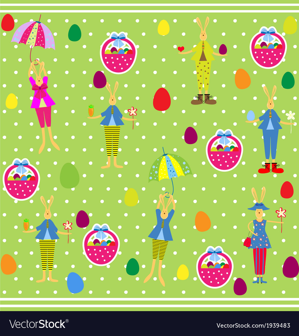 Cute easter seamless with bunnies and eggs vector | Price: 1 Credit (USD $1)