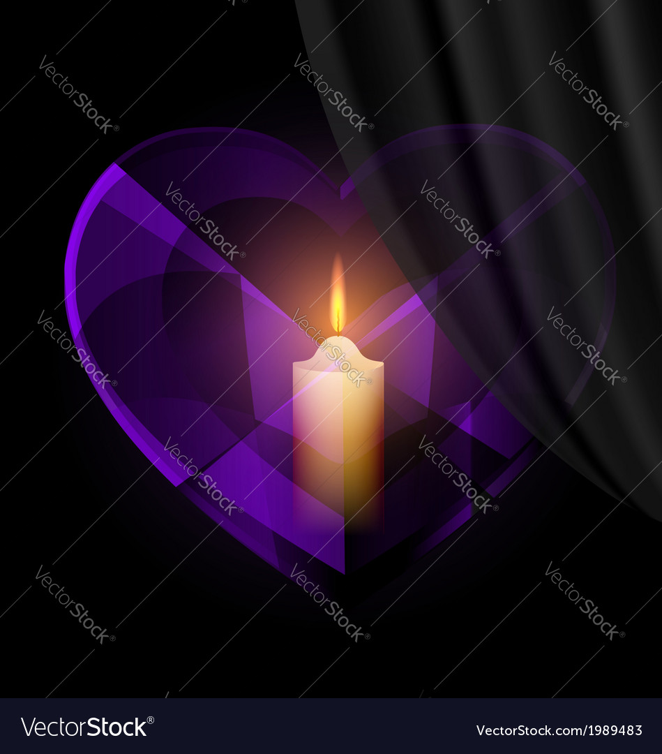 Dark heart-crystal and candle vector | Price: 1 Credit (USD $1)