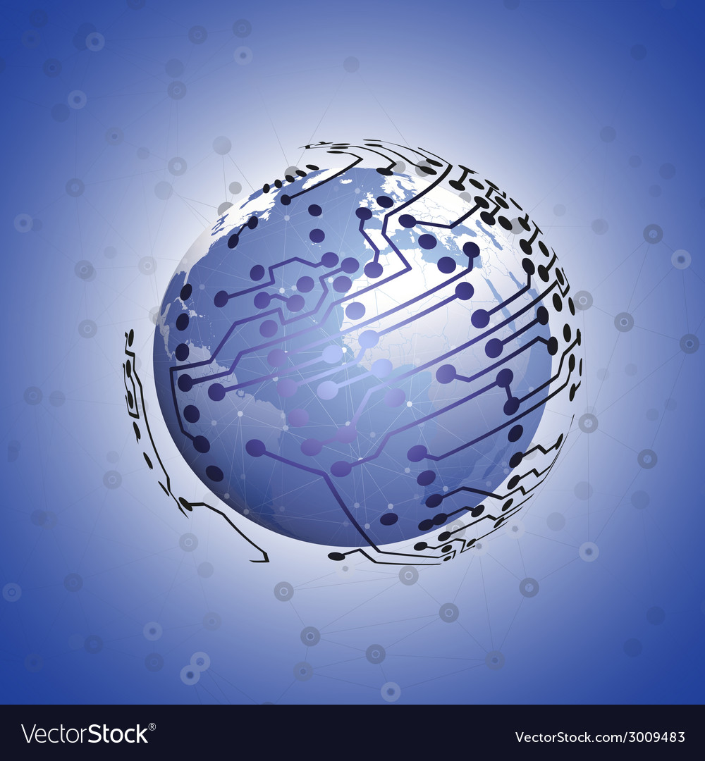 Globe network connections blue design background vector | Price: 1 Credit (USD $1)