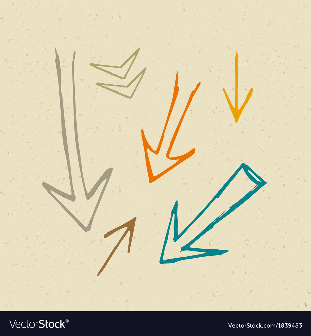 Hand drawn arrows on recycled paper background vector | Price: 1 Credit (USD $1)