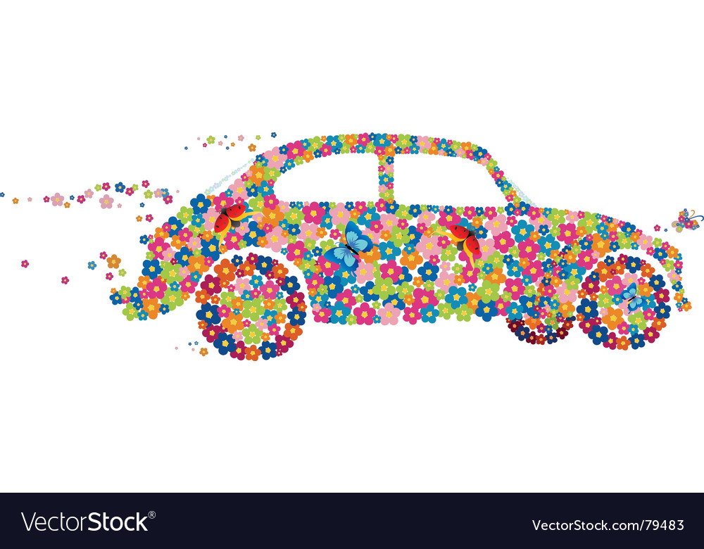 Hippie beetle car vector | Price: 1 Credit (USD $1)