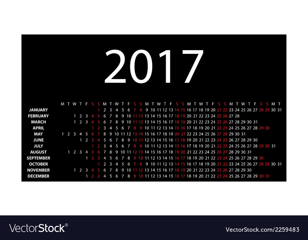 Horizontal calendar for 2017 vector | Price: 1 Credit (USD $1)