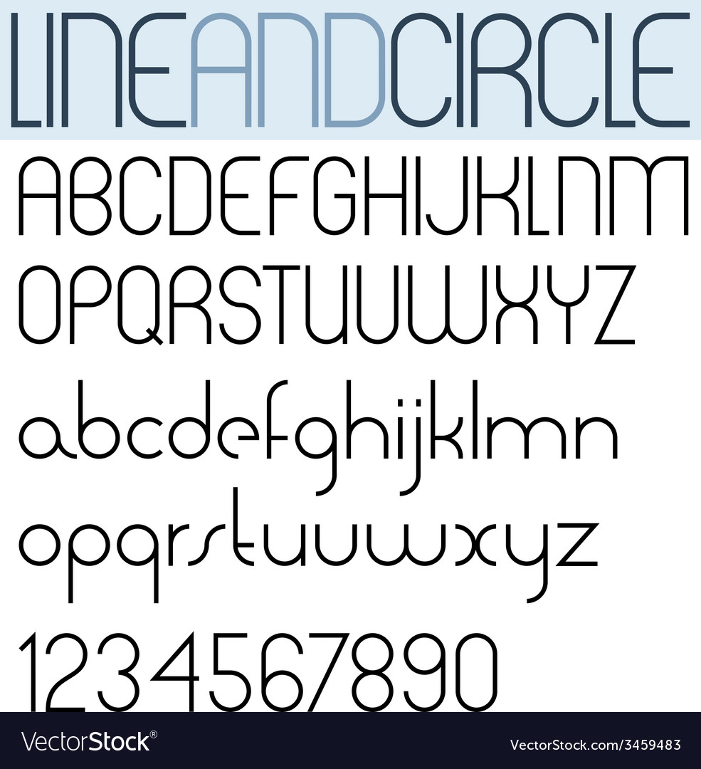 Poster thin black font and numbers on white vector | Price: 1 Credit (USD $1)