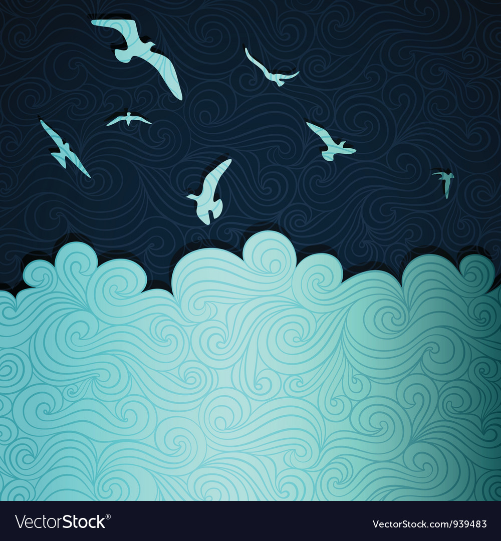 Seagulls above waves vector | Price: 1 Credit (USD $1)