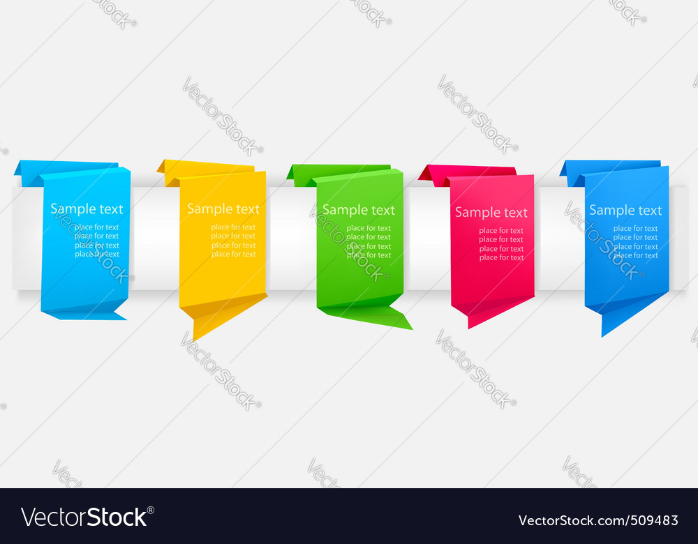 Set with origami banners vector | Price: 1 Credit (USD $1)