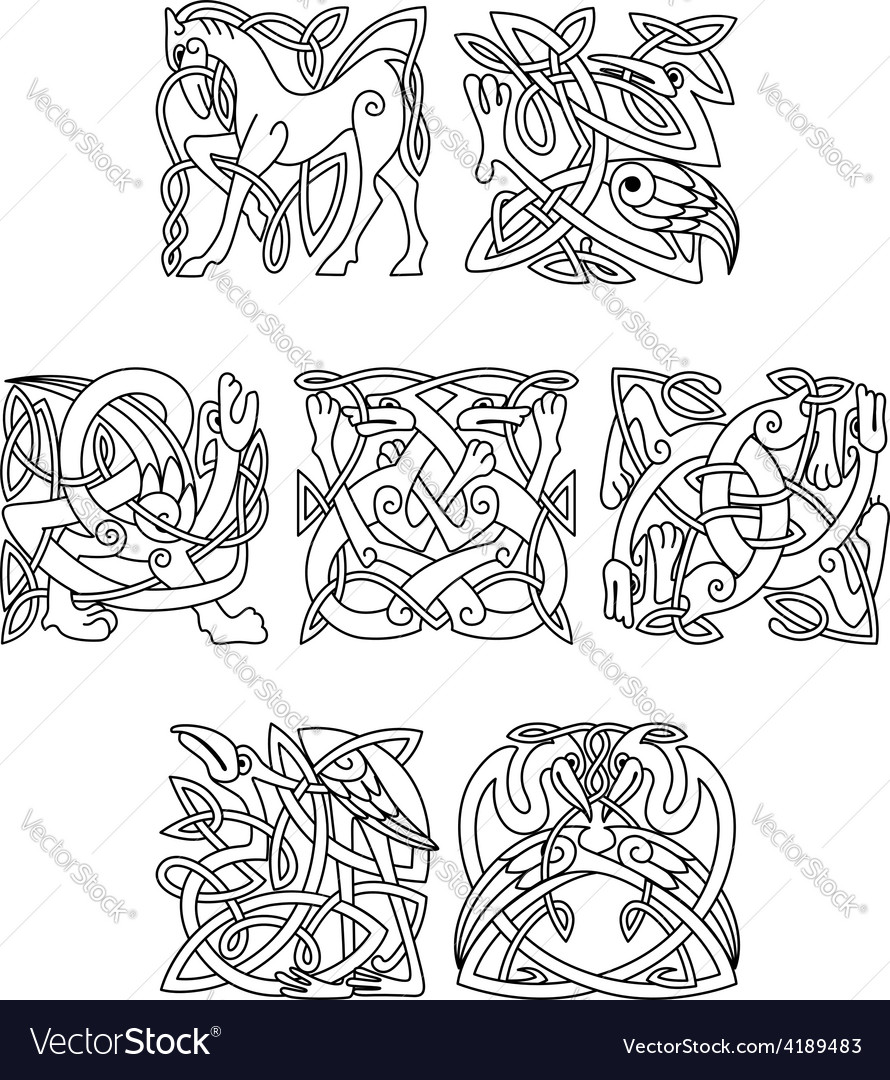 Square decorative celtic motifs of animals and vector | Price: 1 Credit (USD $1)