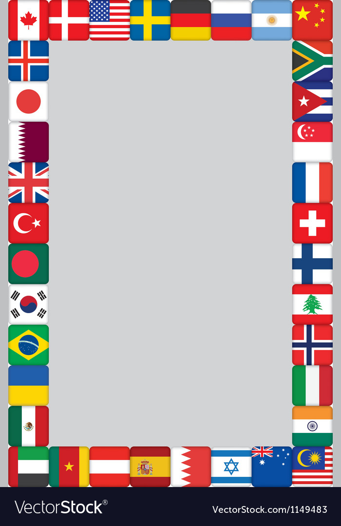 World flags icons frame vector | Price: 1 Credit (USD $1)