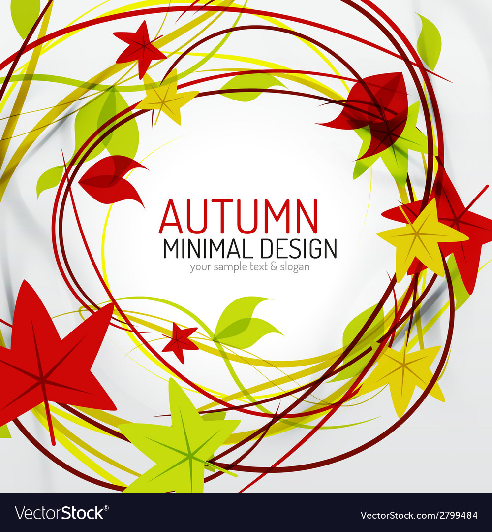 Autumn leaves and lines abstract background vector | Price: 1 Credit (USD $1)
