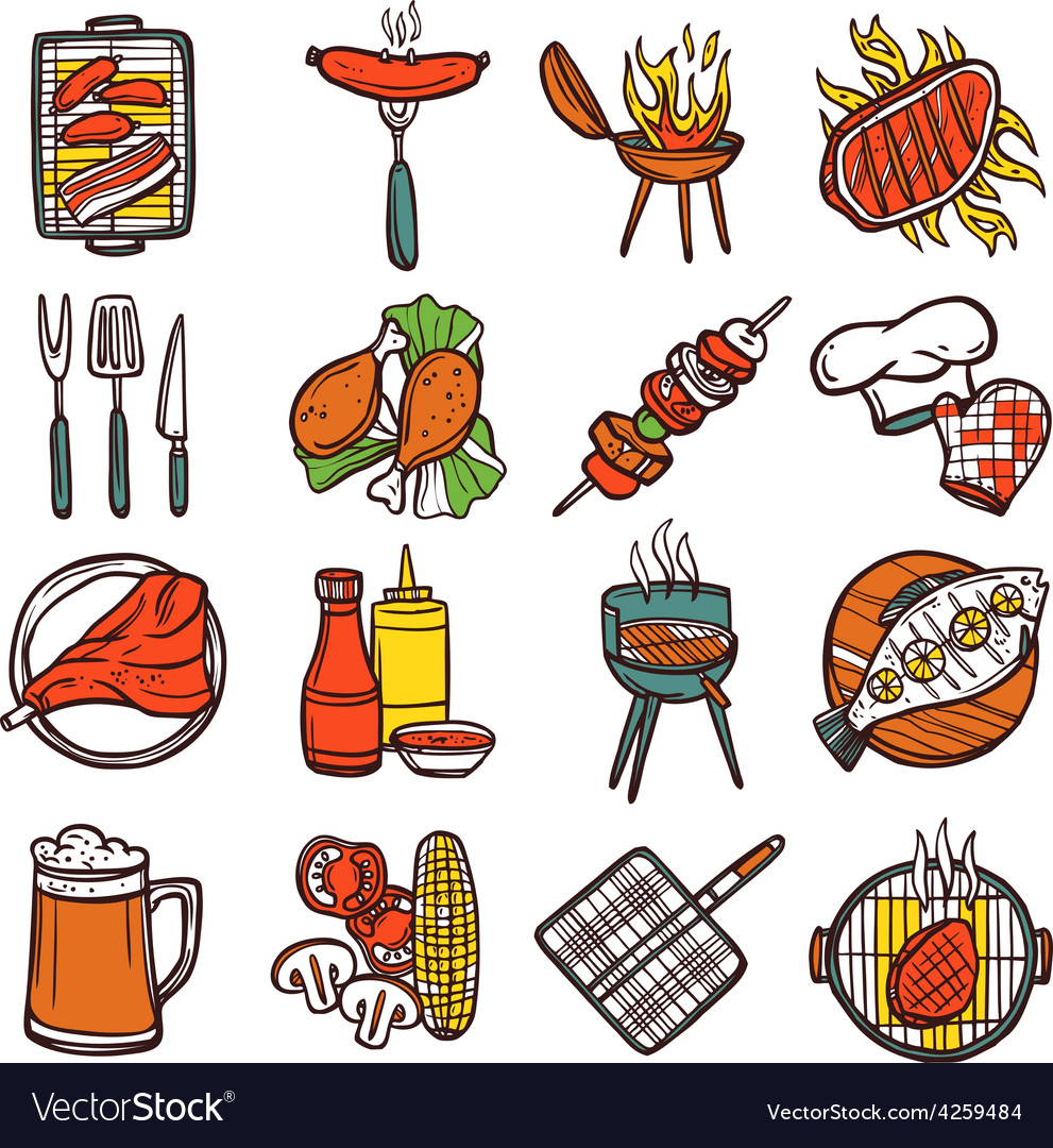 Bbq grill colored icons set vector | Price: 1 Credit (USD $1)