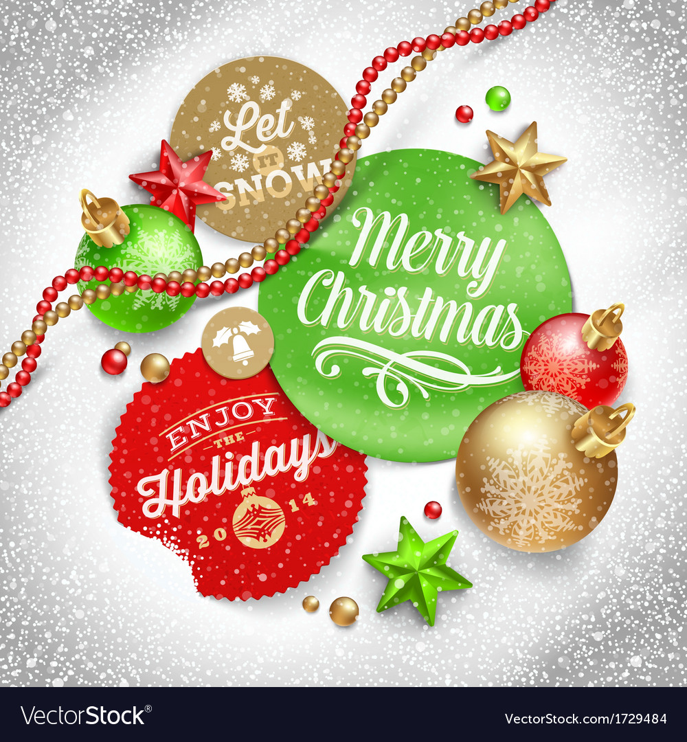 Cardboard labels with christmas greeting and vector | Price: 1 Credit (USD $1)