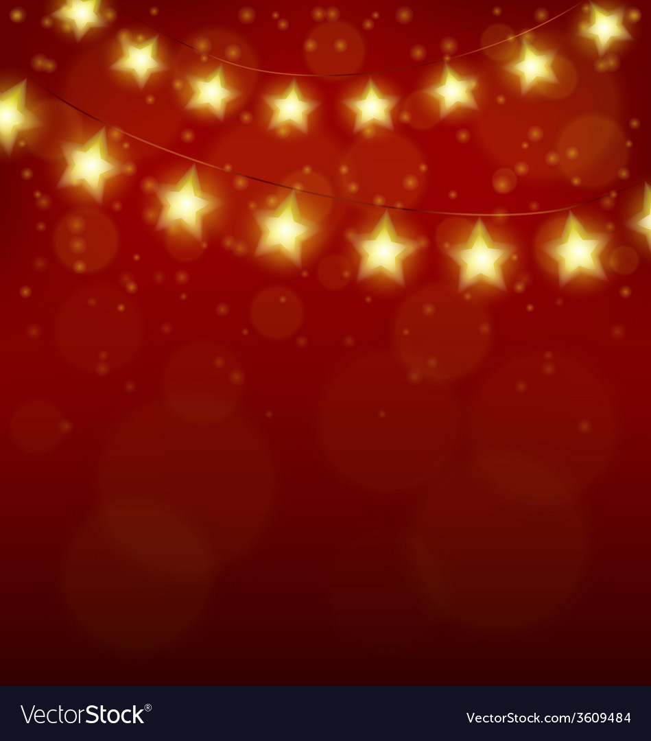 Christmas lights in form of stars on red vector | Price: 1 Credit (USD $1)