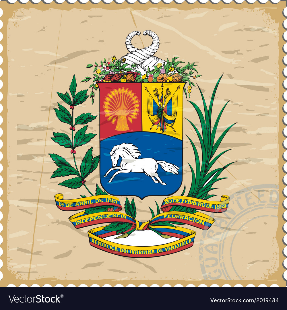 Coat of arms of venezuela on the old postage stamp vector | Price: 1 Credit (USD $1)