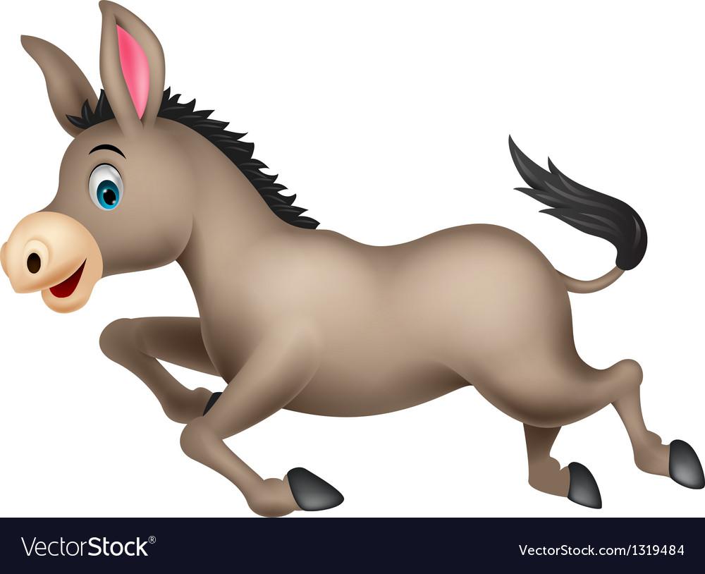 Cute donkey cartoon running vector | Price: 1 Credit (USD $1)